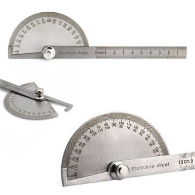 Stainless Steel 180 degree Protractor Angle Finder Arm Rotary Measuring Ruler ~