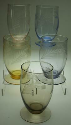 """Lot of 5 Harlequin Etched Small Tumblers or Wine Glasses 4"""" and 180mls KC250"""