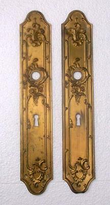 Pair of Vintage French Rococo Brass Door Finger Plates