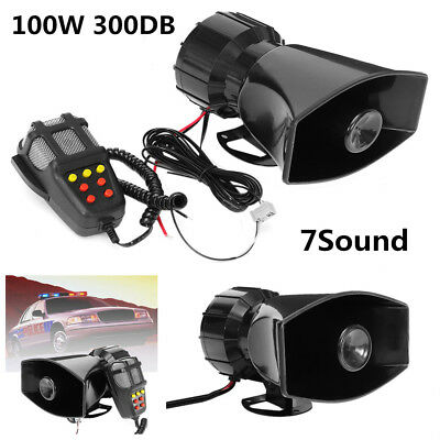 300DB 100W Loud Horn Car 7 Sounds Tone Speaker Warning Alarm With PA System Mic