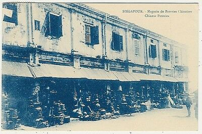 Singapore, China, Chinese Pottery Shops, Street Scene, Old Postcard
