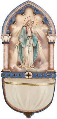 Our Lady Virgin Mary Holy Water Font - Catholic Candles Statues Pictures Listed