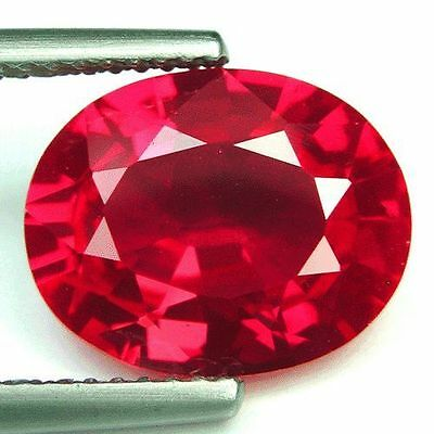 UNUSUAL 10x8mm OVAL-FACET HOT-RED RUBY GEMSTONE