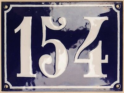 Large old French house number 154 door gate plate plaque enamel steel metal sign