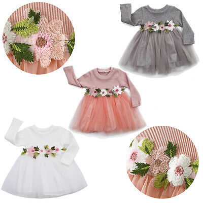 UK 1PC Pretty Toddler Baby Girls Flower Dress Princess Party Prom Tulle Dresses