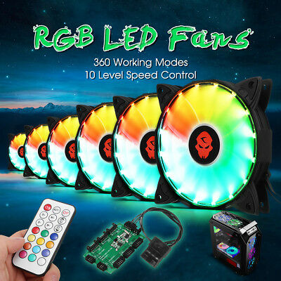 6PCS RGB Adjustable LED Cooling Fan 120mm With Controller Remote For Computer PC