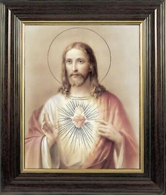 LARGE THE SACRED HEART OF JESUS FRAMED PICTURE 100's OF STATUES & CANDLES LISTED