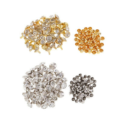 100pcs Rhinestone Rivets Studs for DIY Crafts Leather Bag Decoration 10mm