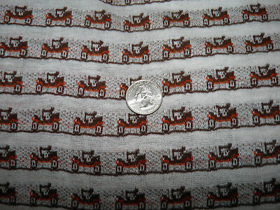 """7/8 Yards Vintage Knit Fabric - Brown Orange Truck - 61"""" Wide - Tube Shaped"""