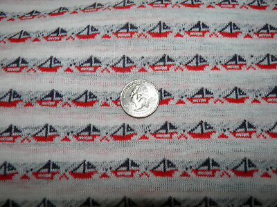 """2/3 Yards Vintage Knit Fabric - Red White Blue Sailboats - 61"""" Wide - Tube Shape"""