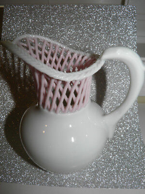 "Vintage Shiny White Pink Porcelain 5 1/2"" Pitcher - Woven Lattice Work Top"