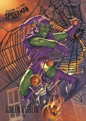 Spiderman Fleer Ultra 2017 Silver Parallel Base Card #96 Green Goblin