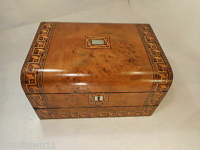 Antique Combination  Writing Slope / Sewing  Box , Walnut inlaid      ref 2575