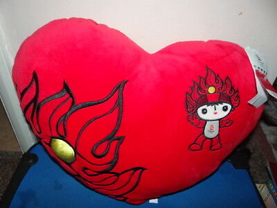 Olympic Games Beijing 2008 Heart Shaped Pillow New