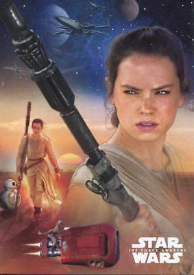 Star Wars Force Awakens S1 Character Montage Chase Card #1 Rey