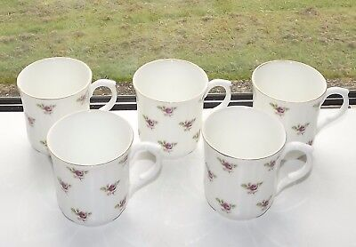 Vintage Duchess Bone China, England Pink Rosebuds 5 x Mugs