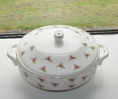 Vintage Duchess Bone China, England Pink Rosebuds Lidded Tureen