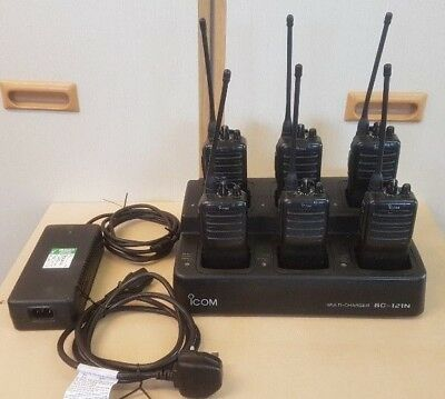 Qty 6 Icom IC-F25 UHF Portable Radio & Charger Suit Taxi, Security, Farm, Shoot