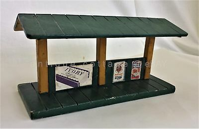 vintage HANDMADE WOOD MODEL TRAIN DEPOT advertising IVORY MAXWELL HOUSE CAMPBELL