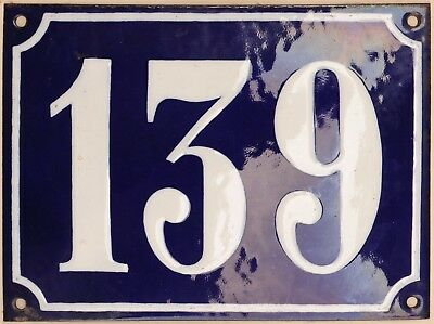 Large old French house number 139 door gate plate plaque enamel steel metal sign