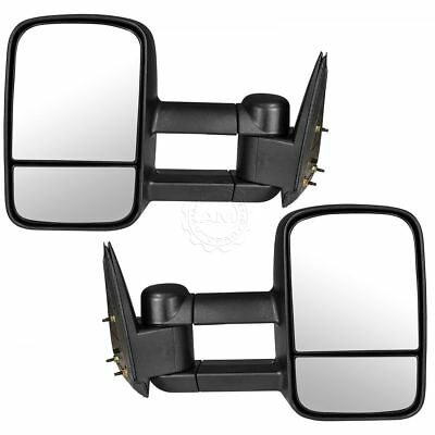 Tow Mirror Manual Textured Black Pair Set of 2 for GM Pickup Truck SUV New