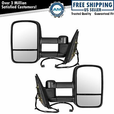 Tow Mirror Power Heated Textured Black Pair Set of 2 for Silverado Sierra Pickup