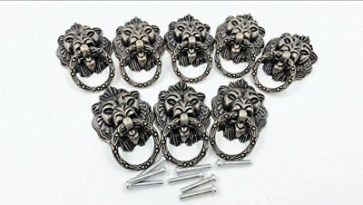 Dresser Drawer Cabinet Door Ring Lion Head Pull Handle Knob 8pcs (C) New