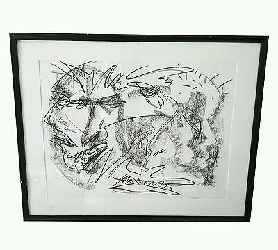 Original Vintage Abstract Charcoal Faces Drawing