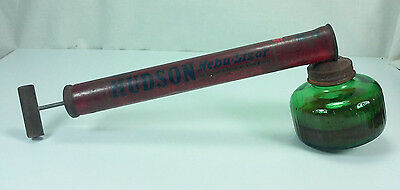 Vintage 1951 Hudson Nebu-Lizor Bug Sprayer Duster With Green Glass Bottle