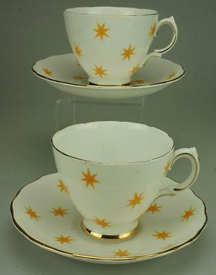 2 Vintage Royal Vale Duos 7 Point Yellow Star Pattern Bone China Gold Trim KC246