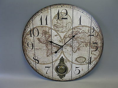 Large Wall Clock 58 cm Nostalgia Watch Antique Style MDF World Map