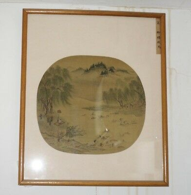 Rare Chinese Fan Antique Original Painting on Silk Herd of Horses Crossing River