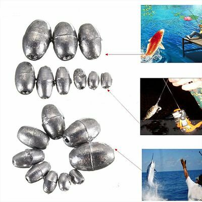 5g-100g Olive Shape Weights Lead Sinkers Lead Sea River Fishing Angling 1Pcs