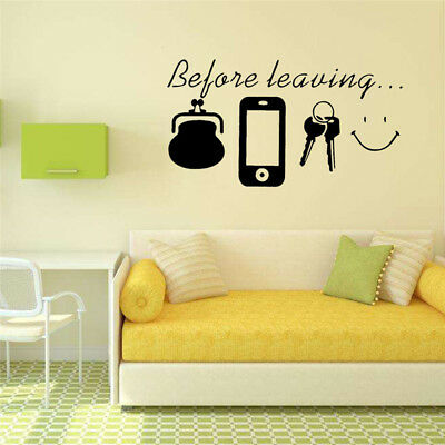 BLACK LETTER QUOTE Removable Vinyl Decal Art Mural DIY Home Decor ...
