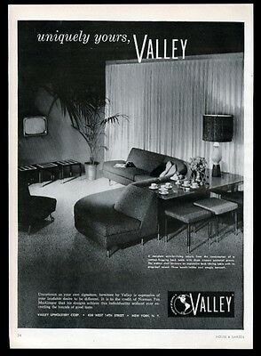 1957 Valley furniture modern curvy sofa photo vintage print ad