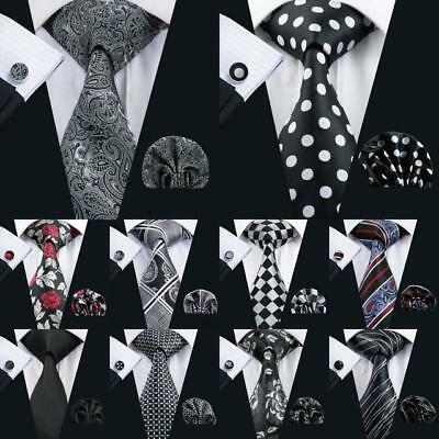 USA Classic Black Grey Mens Tie Paisley Stripe Novelty Silk Necktie Jacquard Set