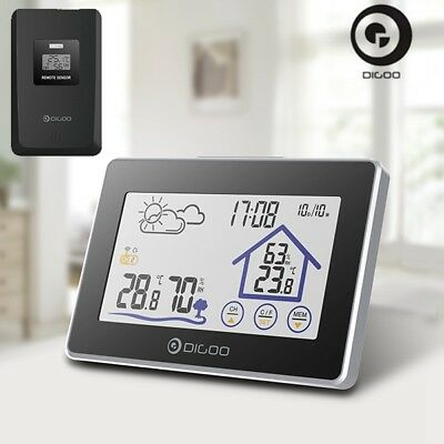 Digoo DG-TH8380 Outdoor Thermometer Wireless Touch Screen Weather Station Clock