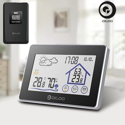 Digoo Indoor Outdoor Thermometer Wireless LCD Touch Screen Weather Station Clock