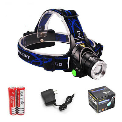 12000Lumens XM-L T6 LED Headlamp Zoomable HeadLight + 18650 Battery+ Charger USA