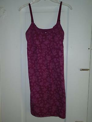Nursing Nightgown Sz S/P Two Hearts Maternity Spaghetti Straps Burgundy