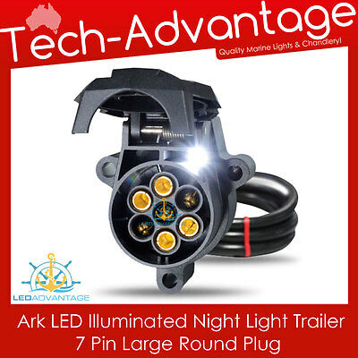 7 Pin Large Round Led Illuminated Night Light Trailer Socket - Boat/Caravan/Ute