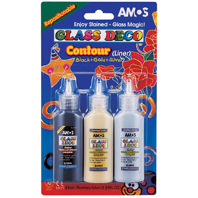 1 x BLACK 22ml AMOS PEELABLE OUTLINER STAINED GLASS ART PAINT PAINTING CRAFT