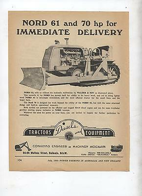 Nord 61 & 70 Crawler Tractor Advertisement removed from 1952 Farming Magazine