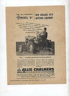Allis Chalmers Model B Tractor Advertisement removed from 1952 Farming Magazine