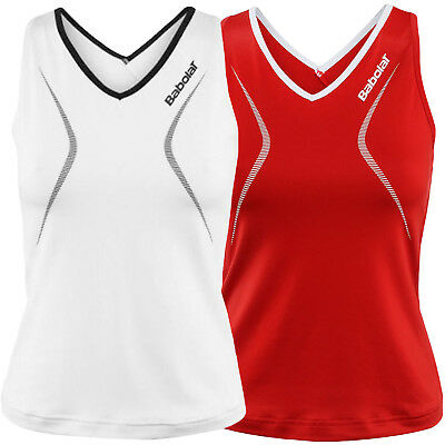 Babolat Performance Womens Sleeveless Tennis Tank Top Vest - White / Red