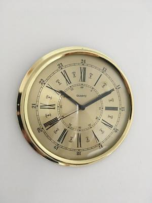Brass Wall Clock Roman Numerals Clear Reading Dial Quality Quartz Movement