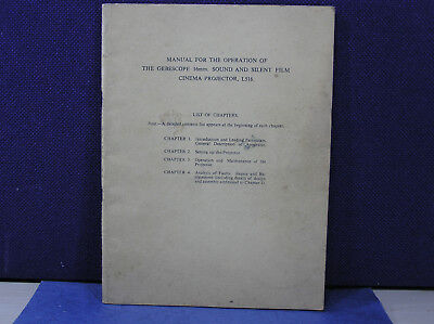 Operation Manual for GEBESCOPE 16mm L516 Sound & Silent Film Cinema Projector