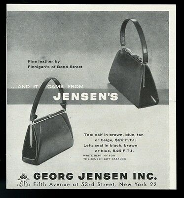1955 Finnigan's of Bond Street purse bag handbag photo Georg Jensen vintage ad