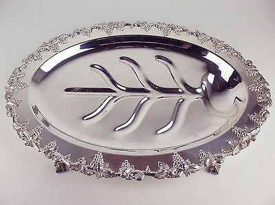 Oval Tree Well Platter Lipman Bros Silverplate Old English Reproduction Grapes