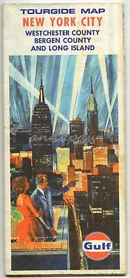 Gulf New York City Tourguide Map Westchester Bergen Co Long Island 1967 Vintage